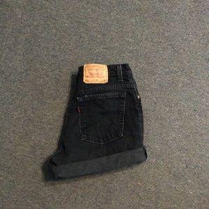 "Vintage Black Cut Offs Levi's Mom Jean Shorts 31"""